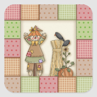 Cute Patchwork with Pumpkin. Crows & Scarecrow Square Stickers