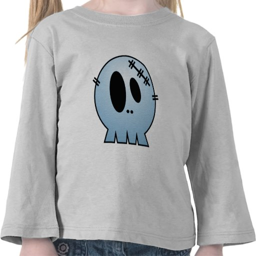 CUTE PATCHY SKULL - BLUE T-SHIRT