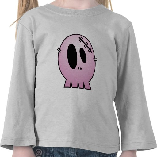 CUTE PATCHY SKULL - PINK T SHIRTS