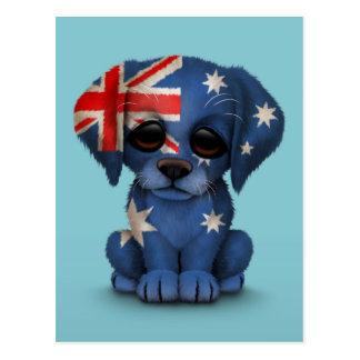 Cute Patriotic Australian Flag Puppy Dog, Blue Postcard