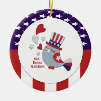 Cute Patriotic Bird Tweets God Bless America Round Ceramic Ornament