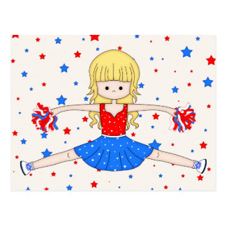 Cute Patriotic Blonde Cheerleader Girl Cartoon Postcard
