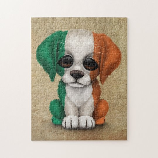 Cute Patriotic Irish Flag Puppy Dog, Rough Jigsaw Puzzle