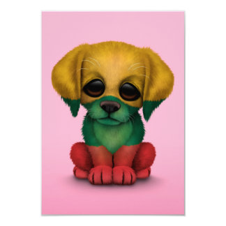 Cute Patriotic Lithuanian Flag Puppy Dog, Pink Card