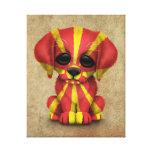 Cute Patriotic Macedonian Flag Puppy Dog, Rough Canvas Print