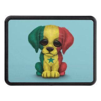 Cute Patriotic Senegal Flag Puppy Dog, Blue Trailer Hitch Cover