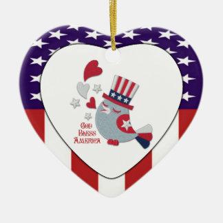 Cute Patriotic Tweet - God Bless America Ceramic Heart Ornament