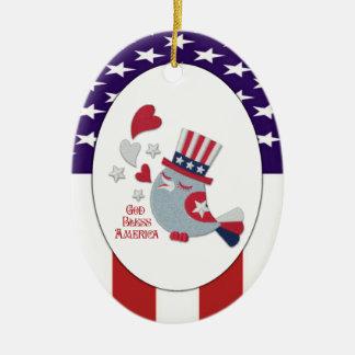 Cute Patriotic Tweet - God Bless America Ceramic Oval Ornament