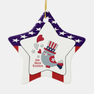 Cute Patriotic Tweet - God Bless America Double-Sided Star Ceramic Christmas Ornament