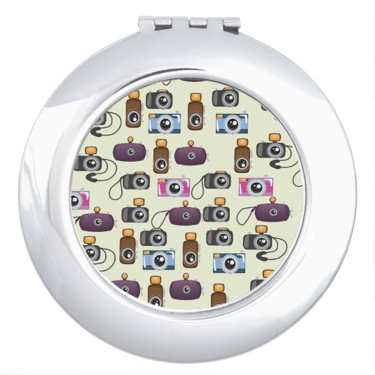 Cute Pattern of Cameras Compact Mirror