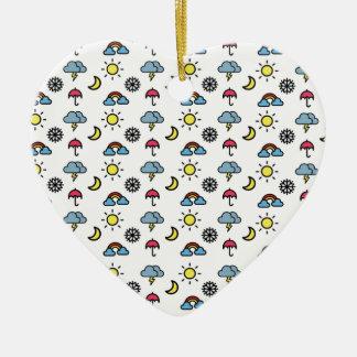 cute pattern weather ceramic heart ornament