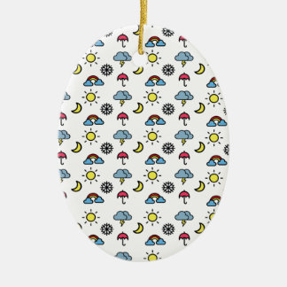 cute pattern weather ceramic oval ornament
