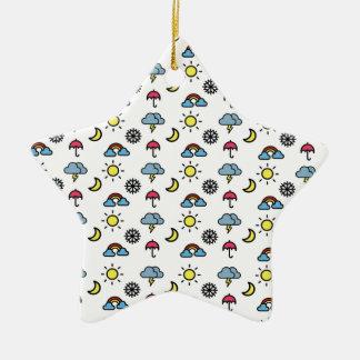 cute pattern weather ceramic star ornament