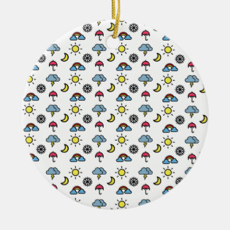 cute pattern weather round ceramic ornament