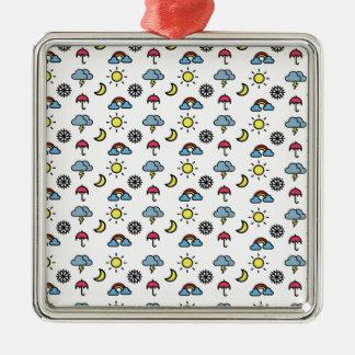 cute pattern weather Silver-Colored square ornament