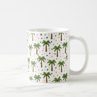 Cute pattern with palm trees and geometric shapes coffee mug