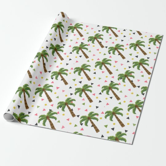 Cute pattern with palm trees and geometric shapes wrapping paper