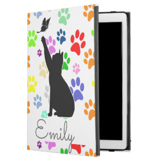 "Cute Paw Pattern Cat Chasing a butterfly Monogram iPad Pro 12.9"" Case"