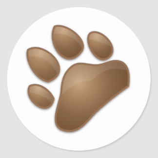 cute paw print round sticker