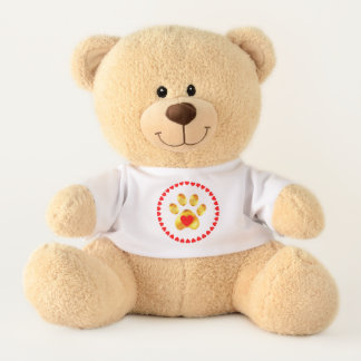 Cute paw surrounded by hearts teddy bear