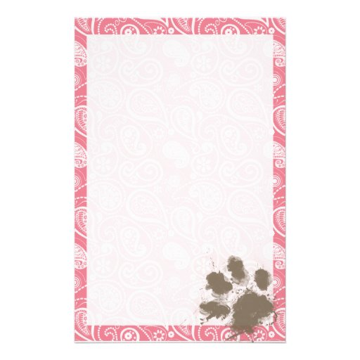 Cute Pawprint on Blush Pink Paisley Personalized Stationery