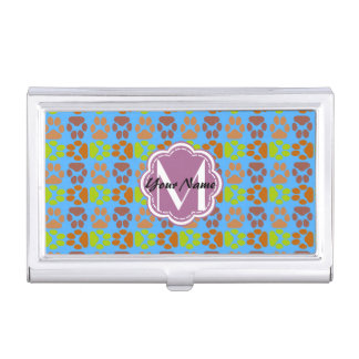 Cute Paws Monogram, Personalized Name Business Card Case