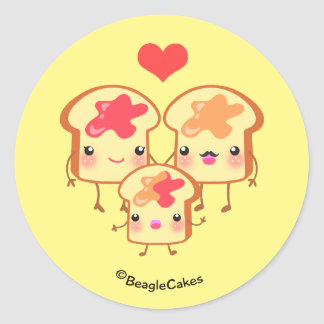 Cute PB & J Sandwich Family Sticker