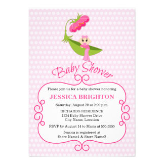 Cute Pea Pod Brown Eyes Baby Shower Invitation