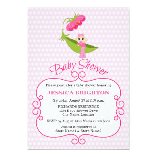 "Cute Pea Pod Brown Eyes Baby Shower Invitation 5"" X 7"" Invitation Card"