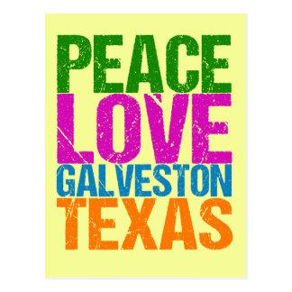 Cute Peace Love Galveston Texas Postcard