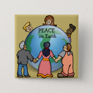 Cute PEACE on Earth Button