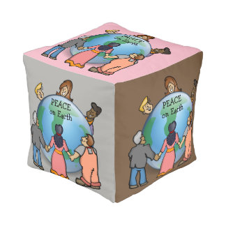 Cute PEACE on Earth Design Cube Pouf
