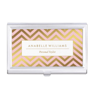 Cute Peach and Faux Gold Foil Chevrons Case For Business Cards