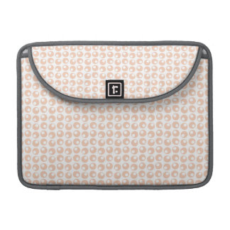 Cute Peach and White Retro Circles Pattern MacBook Pro Sleeves