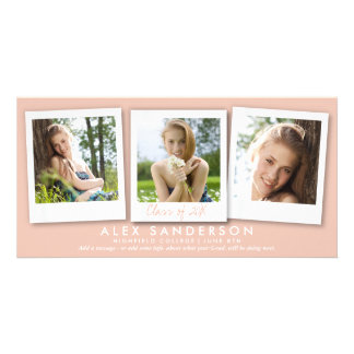 Cute Peach/Apricot Instant Style Photo Graduation Card