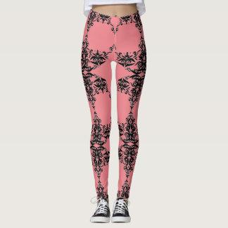 Cute, Peach color, black damask pattern Leggings