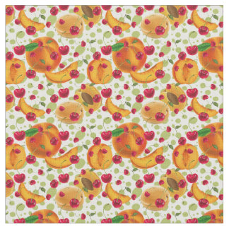 Cute Peaches and Cherries kitchen pattern material Fabric