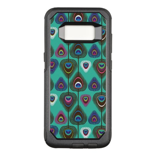 cute peacock feather pattern OtterBox commuter samsung galaxy s8 case