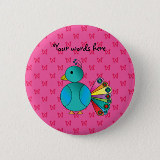 Cute peacock pink butterflies 2 inch round button