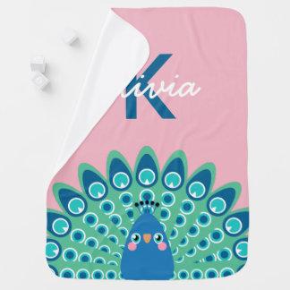 Cute Peacock | Pink Monogrammed Baby Blanket