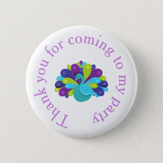 Cute Peacock 'Thank you for coming' 2 Inch Round Button