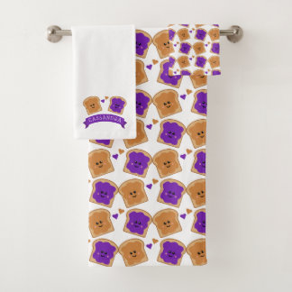 Cute Peanut Butter and Jelly Bath Towel Set