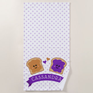 Cute Peanut Butter and Jelly Beach Towel