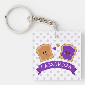 Cute Peanut Butter and Jelly Keychain
