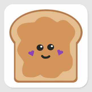 Cute Peanut Butter Bread Square Sticker