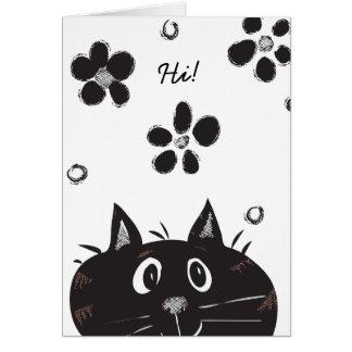 Cute Peek A Boo Cat saying Hi! Blank Card