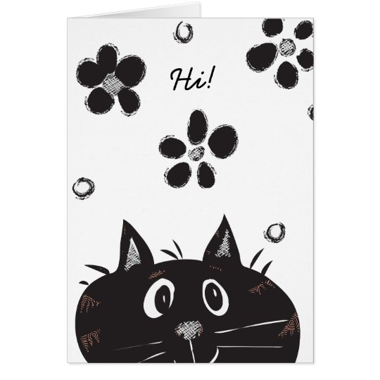 Cute Peek A Boo Cat saying Hi! Blank Card