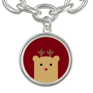 Cute Peekaboo Reindeer Holiday Charm Bracelet