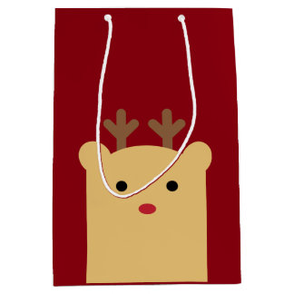 Cute Peekaboo Reindeer Holiday Gift Bag