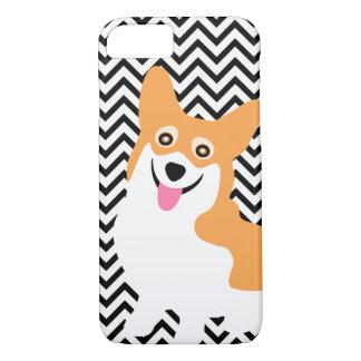 Cute Pembroke Welsh Corgi Puppy Chevron Case-Mate iPhone Case